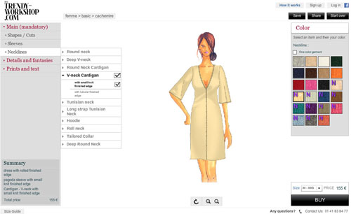 Trendy workshop garments configurator